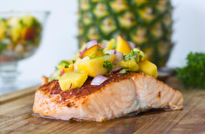 Pan Grilled Salmon with Pineapple Salsa